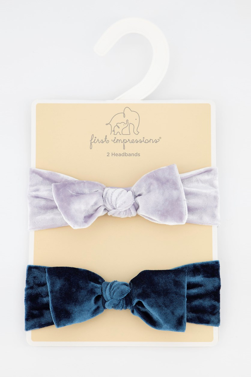 Baby Girls 2-Pack Velvet Headbands, Creamy Lavender/Teal