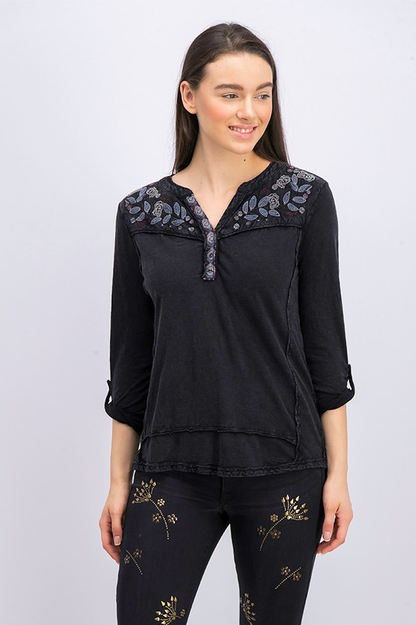 Petite Cotton Embroidered Top, Black