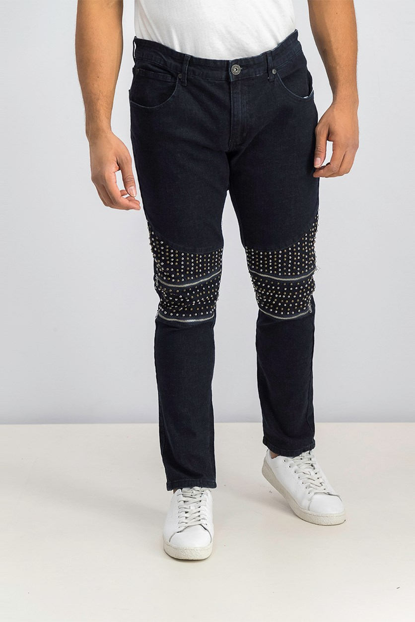 Men's Skinny Fit Stretch Studded Jeans, Dark Wash