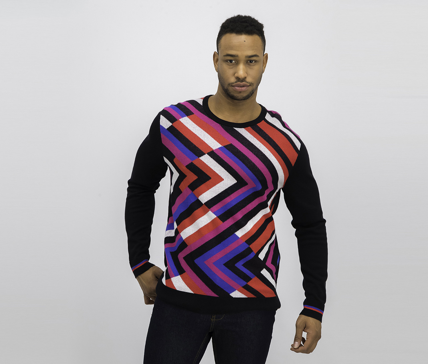 Mens Zigzag Pullover Sweater, Deep Black Combo