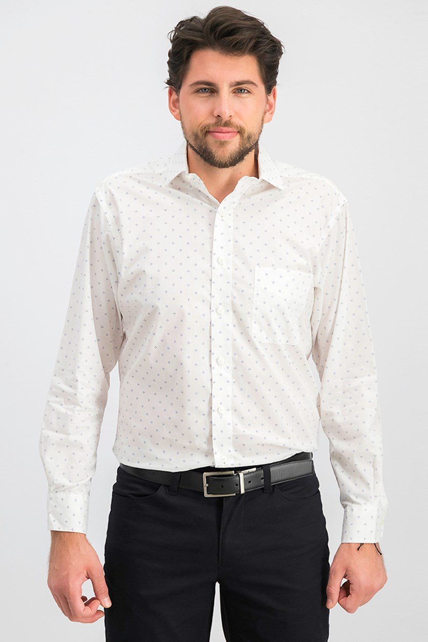 Men's Regular Fit Printed Dress Shirt, White
