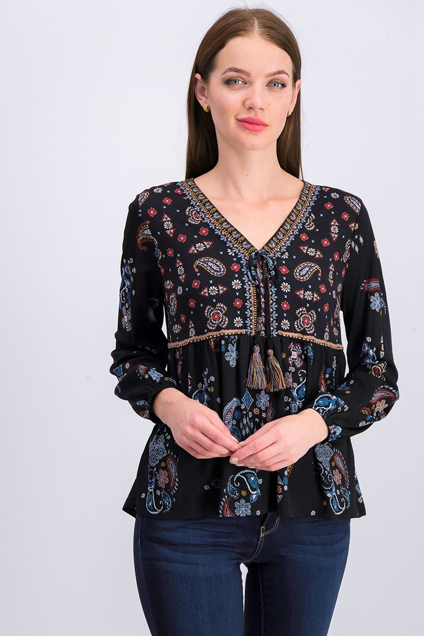 Petite High-Low Peasant Top, Black Combo