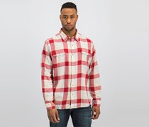 The Normal Brand Men's Casual Shirts, Red/ Heatherd Grey