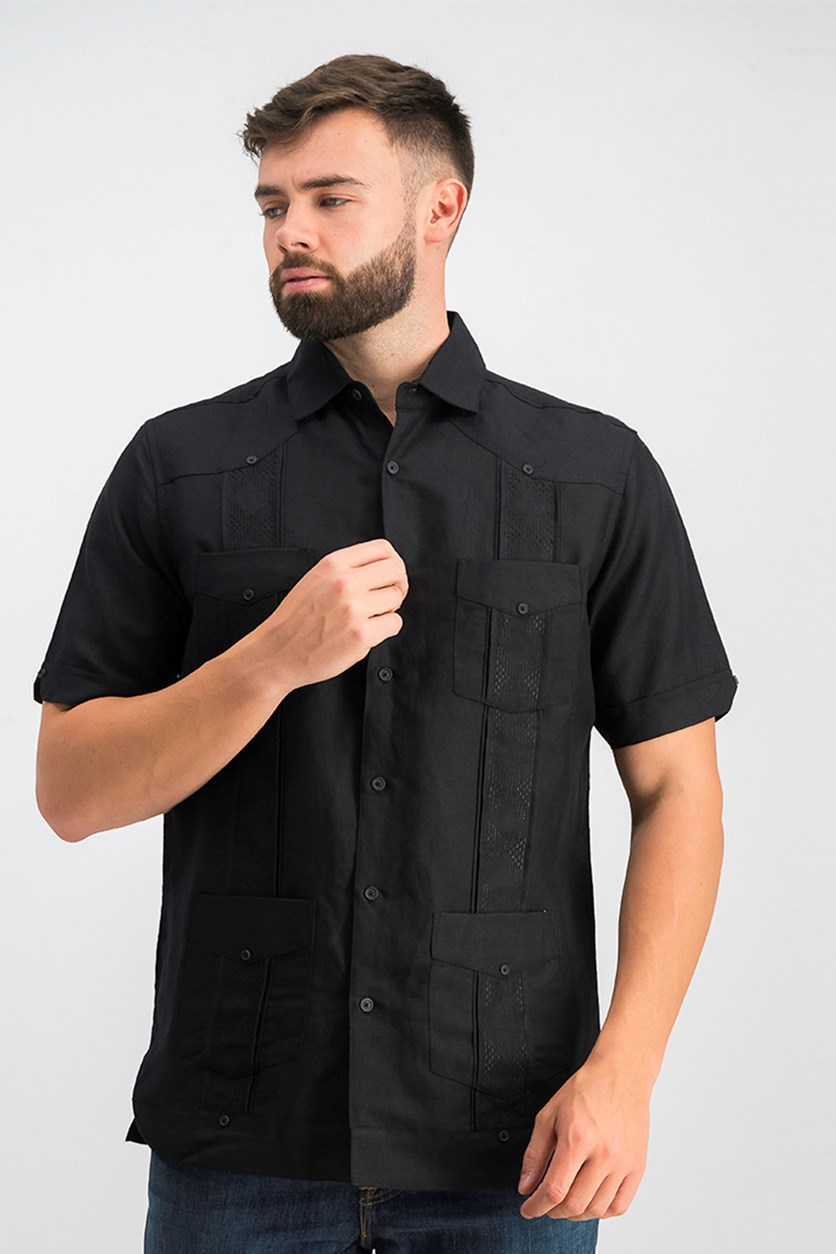 Mens Guayabera Shirt, Deep Black