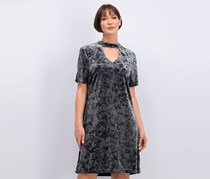 ABS Collection Short Sleeve Crushed Velvet Dress, Charcoal