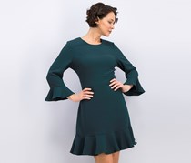 Bell Sleeve Fit & Flare Dress, Green