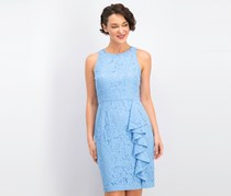 Eliza J Sleeveless Ruffle Lace Sheath Dress, Blue