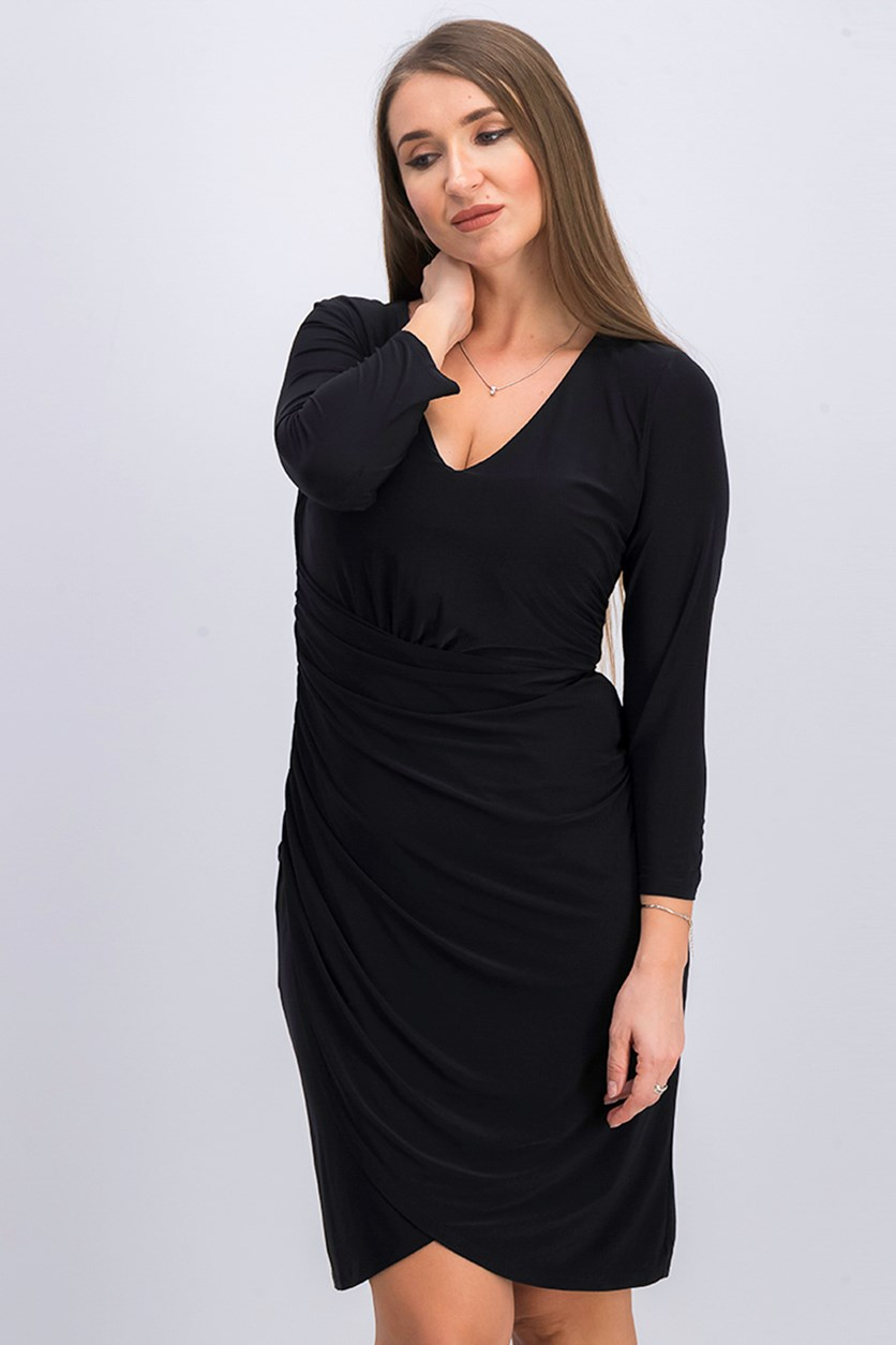 Ruched 3/4 Sleeve Dress, Black