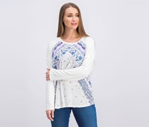 Women's Printed Top, White