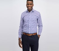 Tommy Hilfiger Men's Slim-Fit Supima Stretch Dress Shirt, Violet Twist
