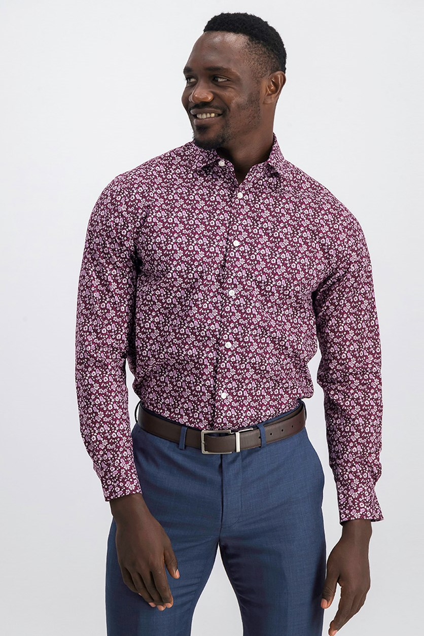 Slim-Fit Thflex Floral Dress Shirt, Maroon/Pink