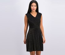 Ny Collection Petite Ribbed A-Line Dress, Black/Gold