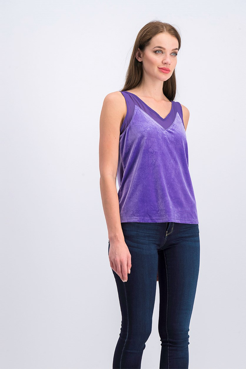 Petite Velvet Illusion V-Neck Tank Top, Purple Passion