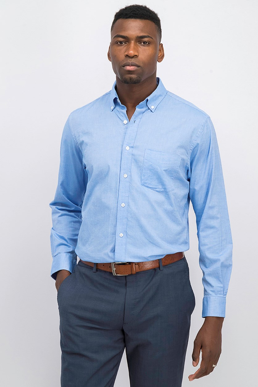 Men's Solid Stretch Oxford Cotton Shirt, Palace Blue