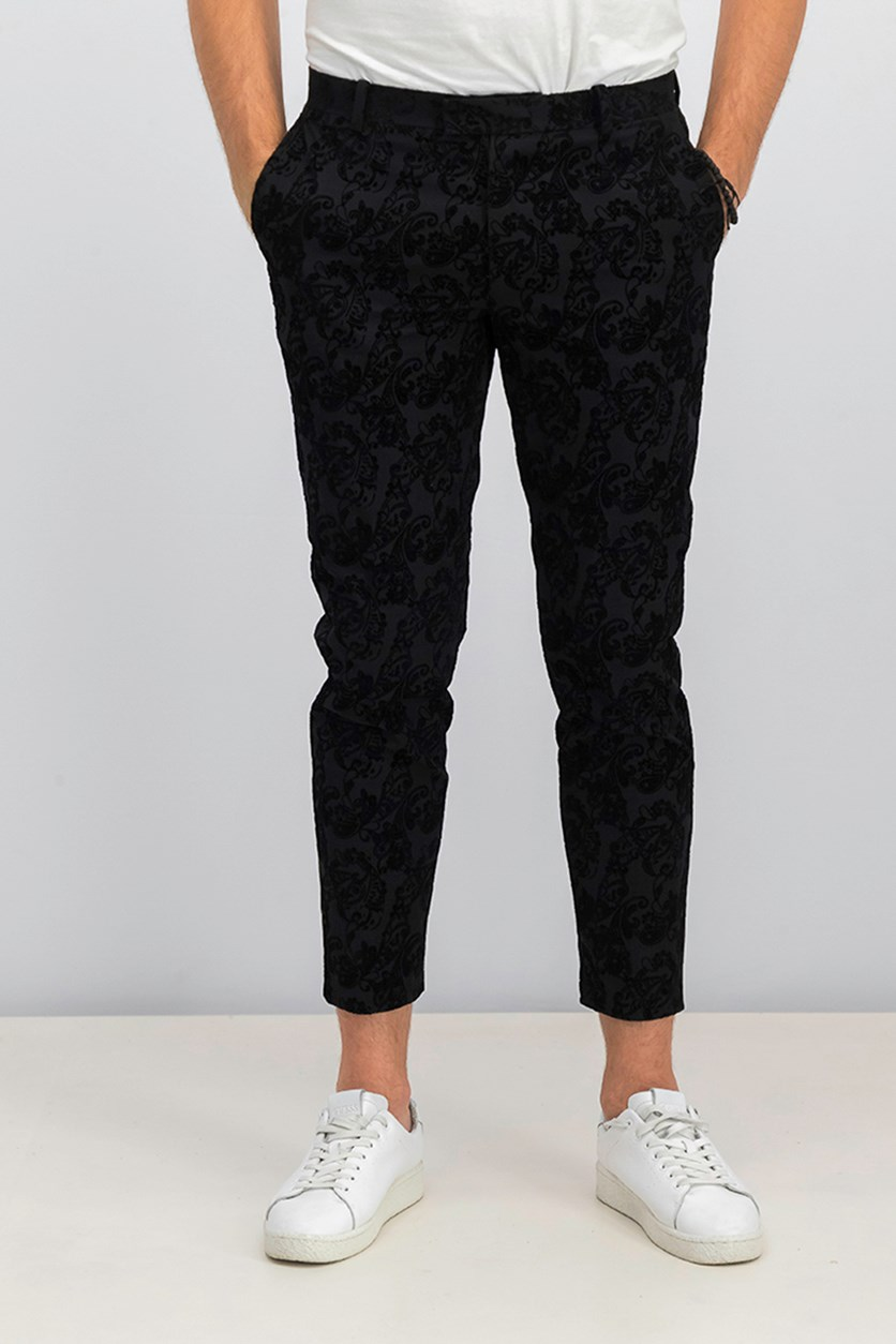 Men's Slim-fit Flocked Paisley Pants, Deep Black