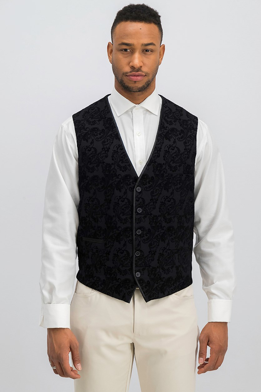 International Concepts Men's Slim-Fit Flocked Paisley Vest, Black
