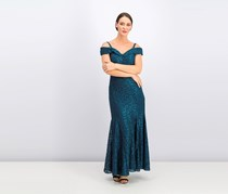 R & M Richards Off-The-Shoulder Lace Gown, Peacock