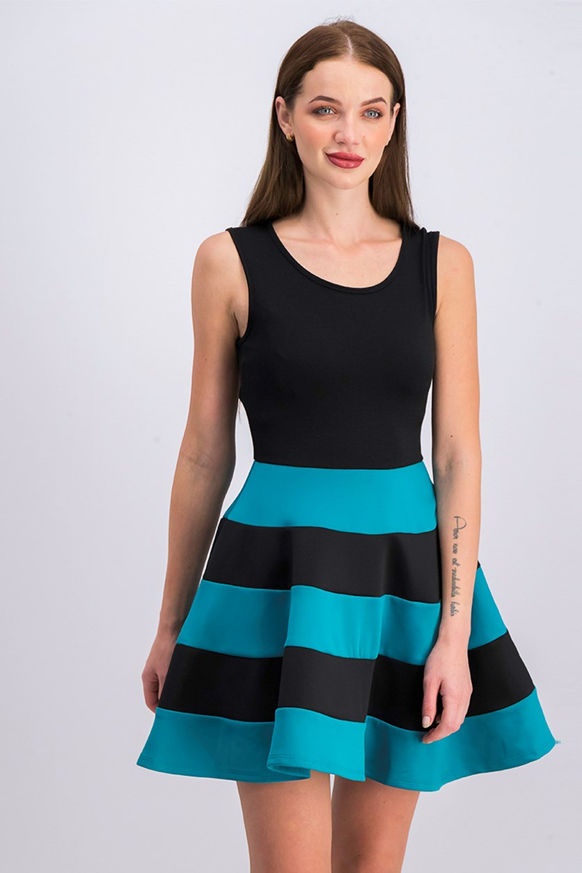 Juniors' Striped Fit & Flare Scuba Dress, Black/Petrol