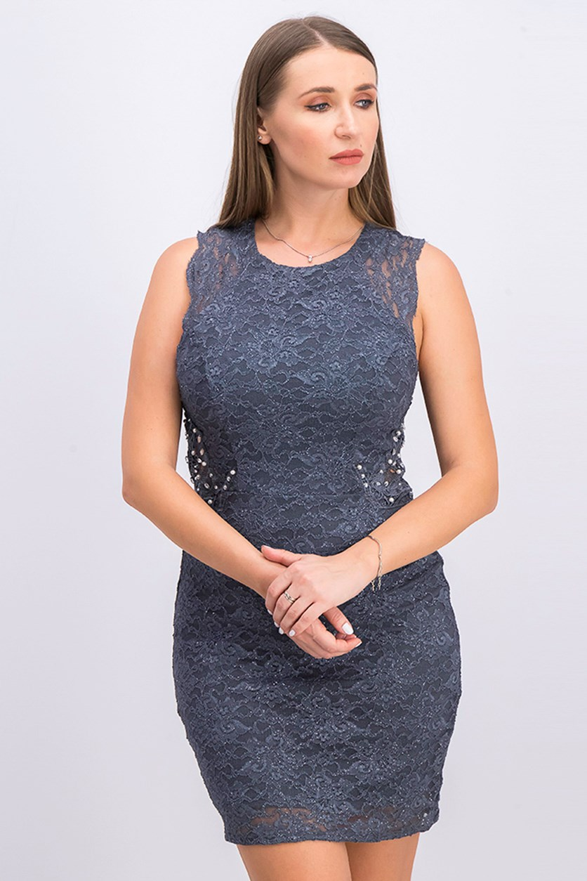 Juniors' Embellished Lace Bodycon Dress, Charcoal