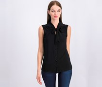 Anne Klein Women's Tie Neckline Top, Black
