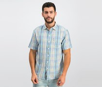 Tommy Bahama Men's Hideaway Palms Plaid Shirt, Zephyr Blue
