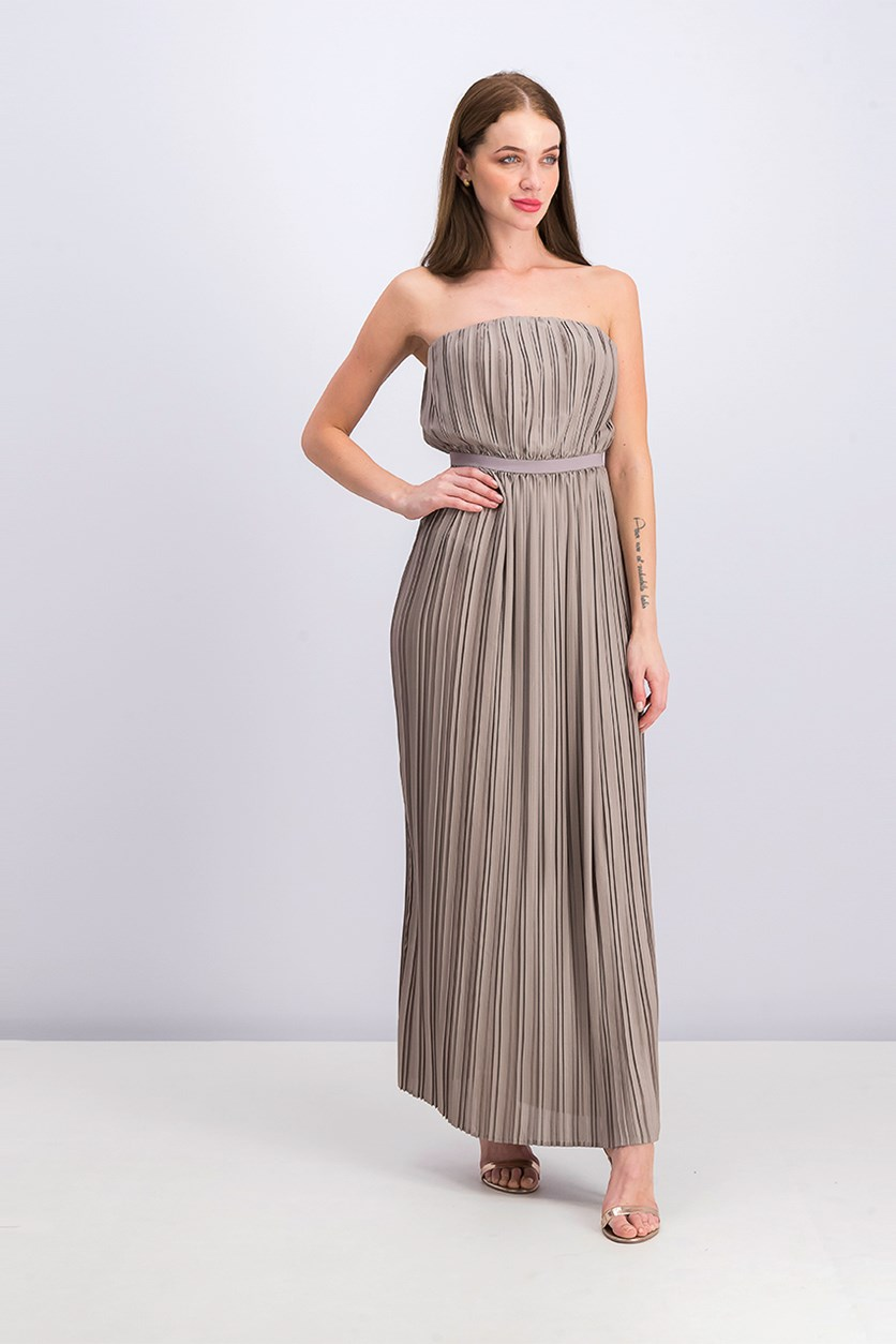 Womens Mateo Strapless Pleated Maxi Dress, Moss