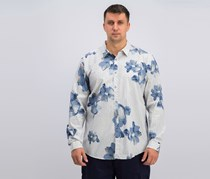 International Concepts Mens Geometric Floral-Print Shirt, White Combo
