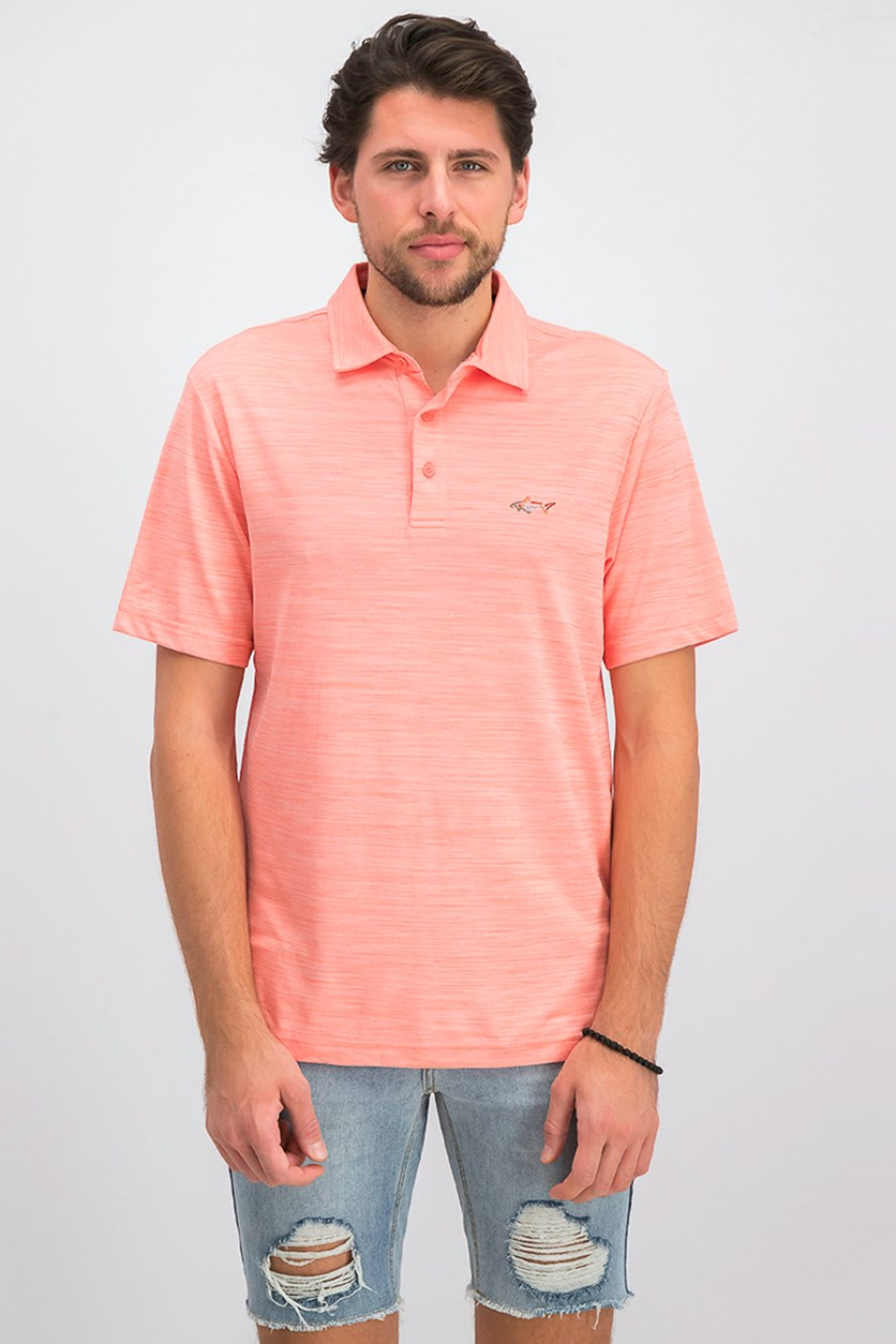 Men's 5 Iron Space-Dye Performance Golf Polo, Peach Pink