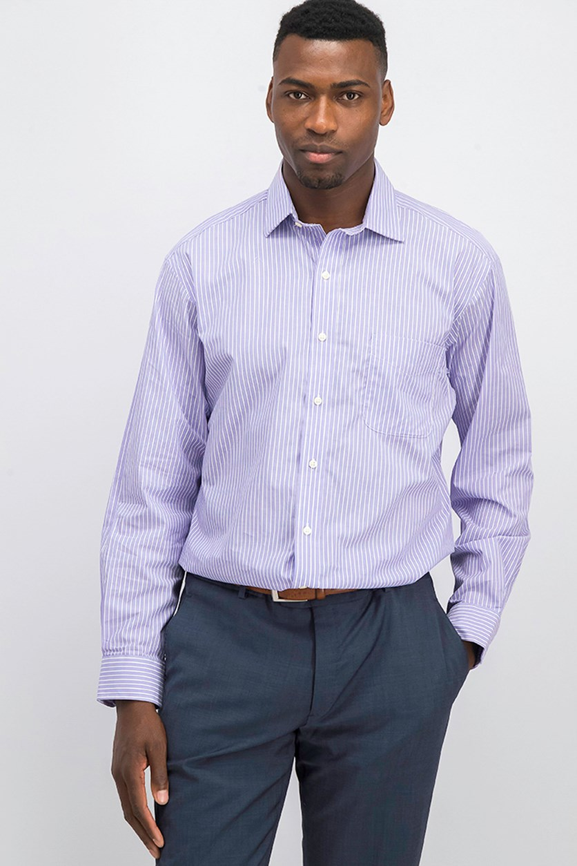Men's Classic Regular Fit Stripe Shirt, Purple/White