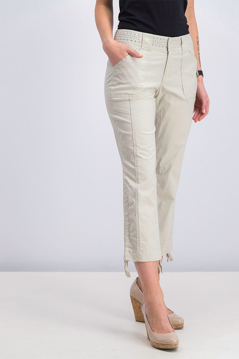 Women's Studded Ruched Capri Pants, Toad Beige