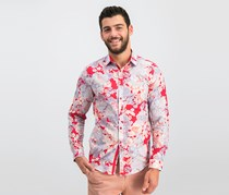 INC International Concepts Mens Floral Shirt, Red Combo