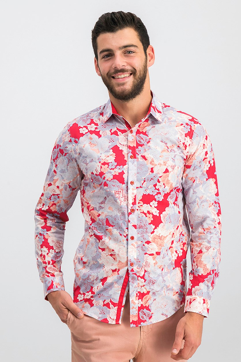 International Concepts Mens Floral Shirt, Red Combo