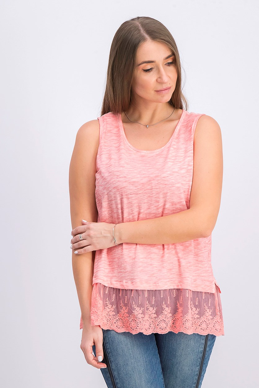 Petite Lace-Hem Tank Top, Icy Pink