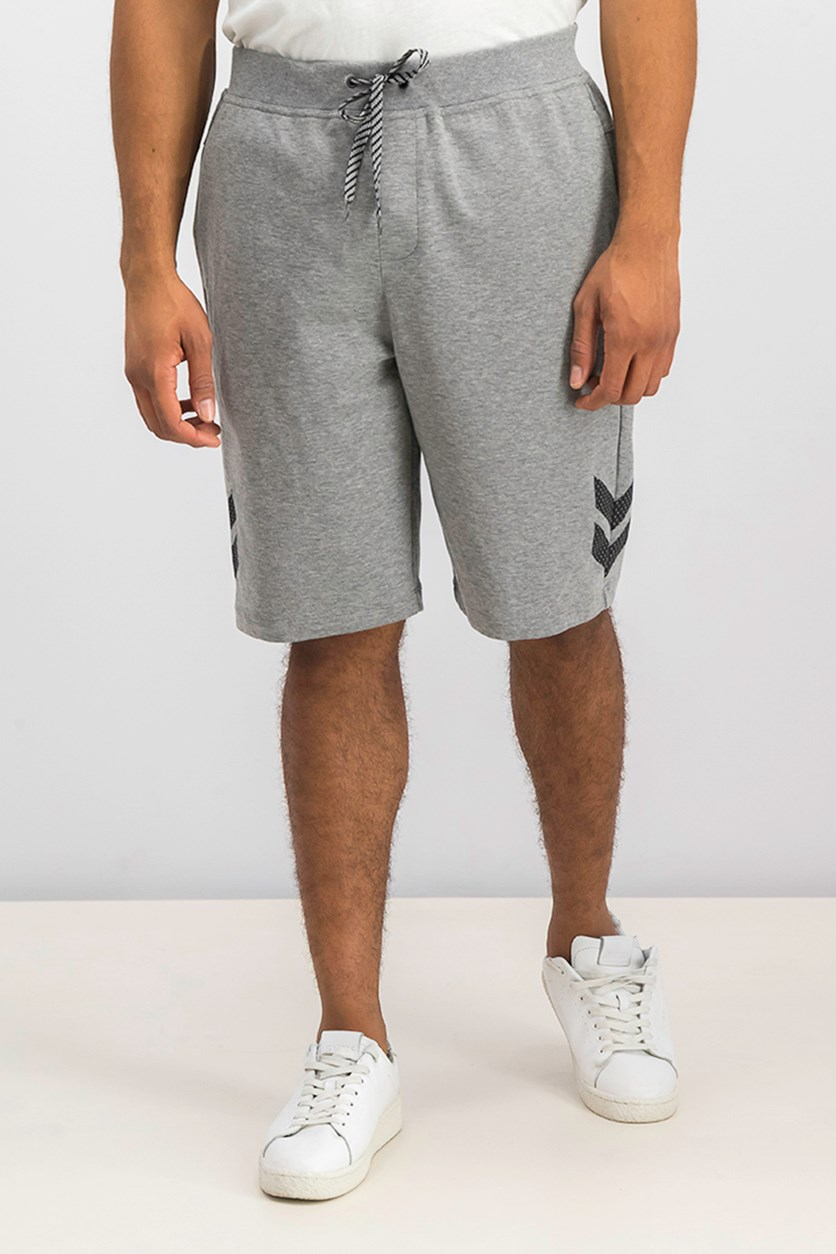 Mens Heathered Athletic Sweat Shorts, Gray