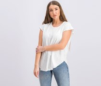 Raw-Edge Flutter-Sleeve Tee, White