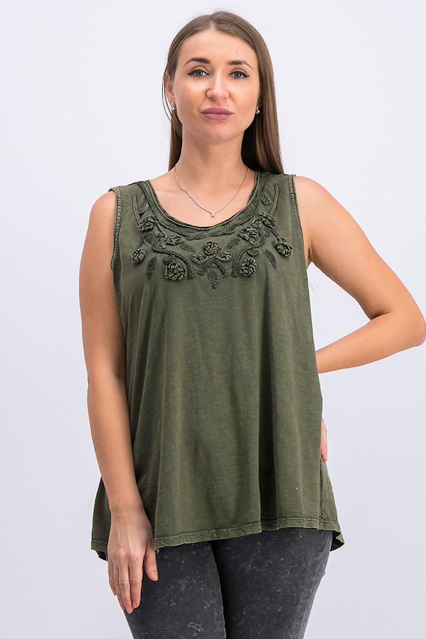 Cotton Soutache-Trim Tank Top, Olivia