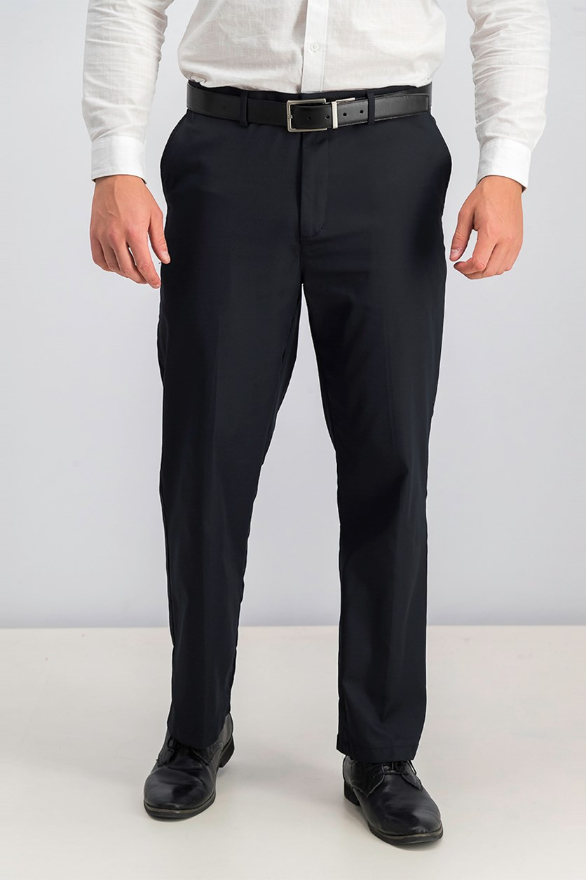 Men's Flat Front Pants, Deep Black