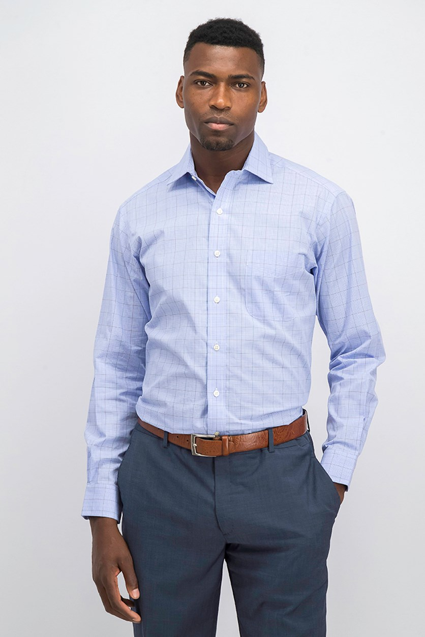 Men's  Regular Fit Glen Plaid Dress Shirt, Light Blue