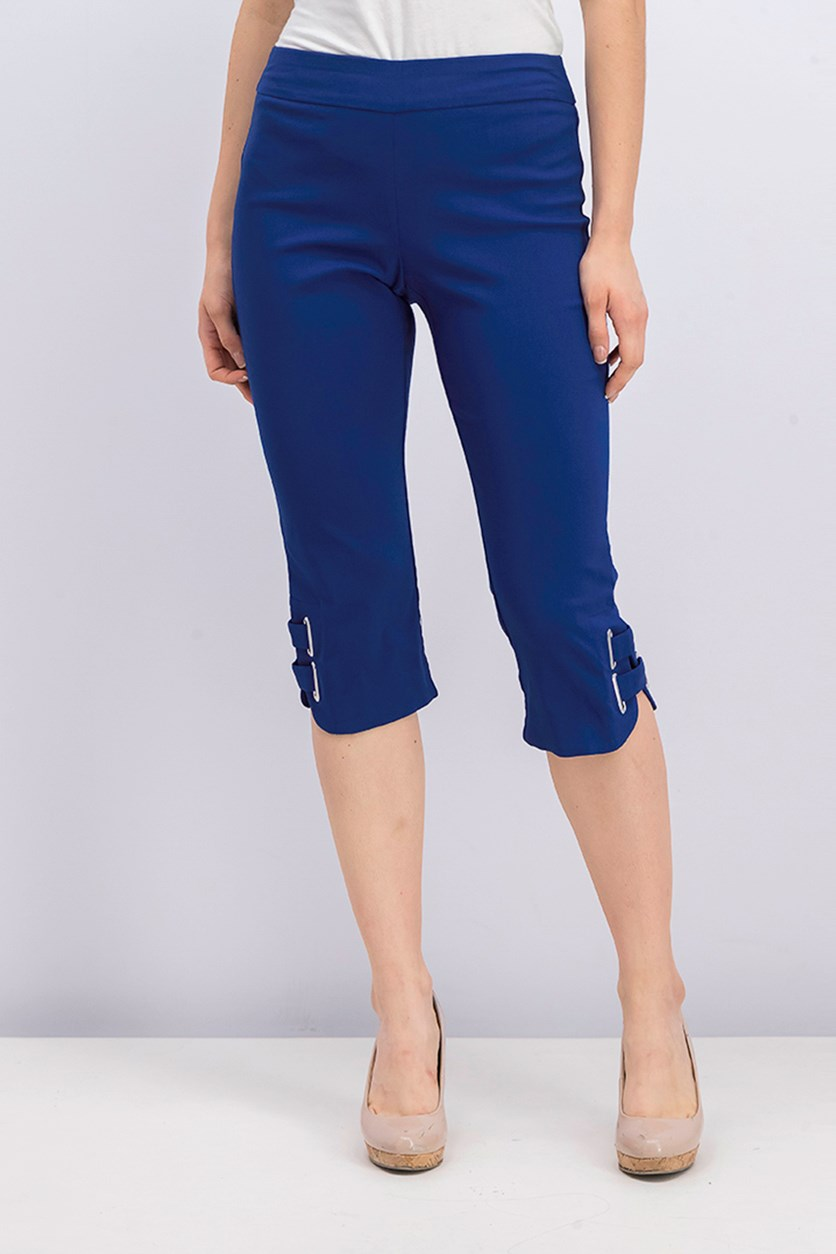 Women's Buckle-Hem Capri Pants, Pompador Blue