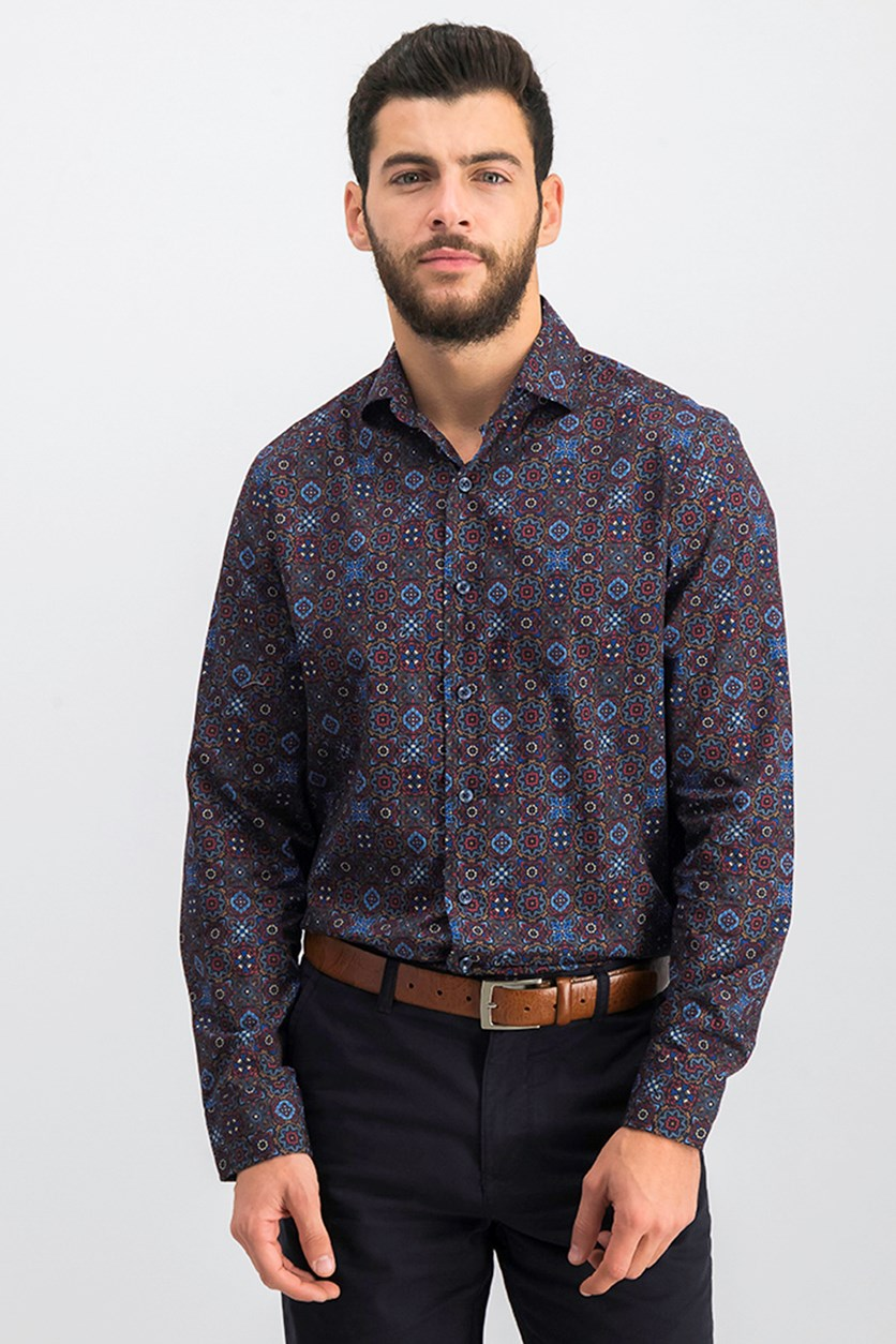 Men's Medallion Print Shirt, Aburn Combo