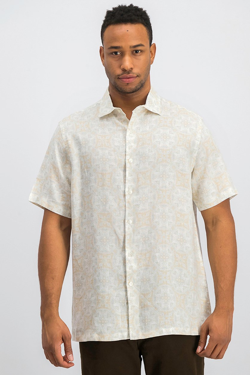 Men's Linen Medallion Shirt, Khaki Combo
