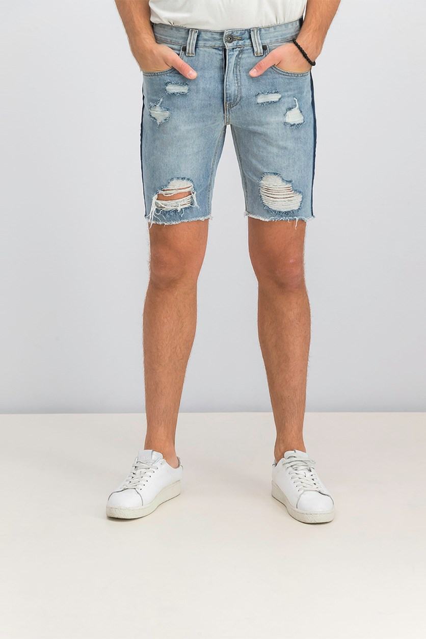 Men's Regular-Fit Ripped Denim Shorts, Light Wash