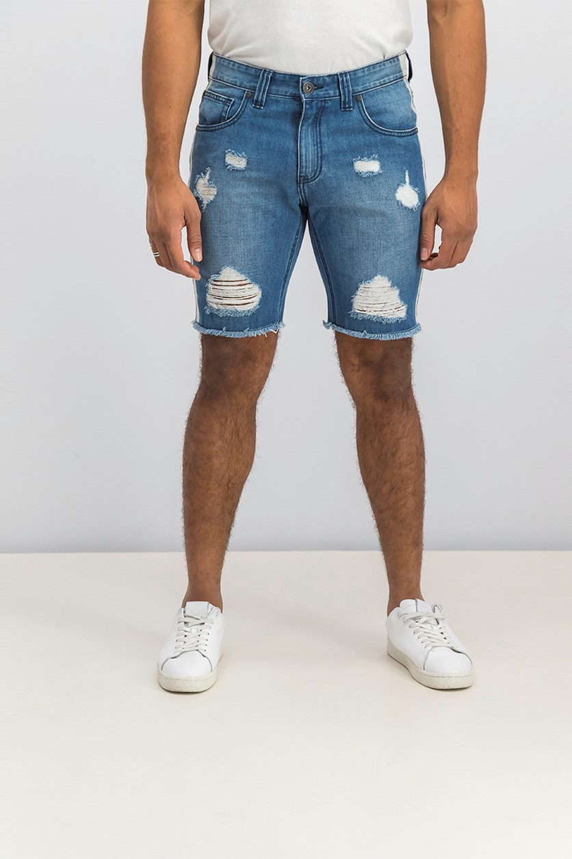I.n.c. Men's Ripped Shadow Denim Shorts, Medium Wash