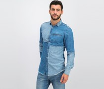 International Concepts Men's Pearl Snap Colorblocked Denim Shirt, Medium Wash