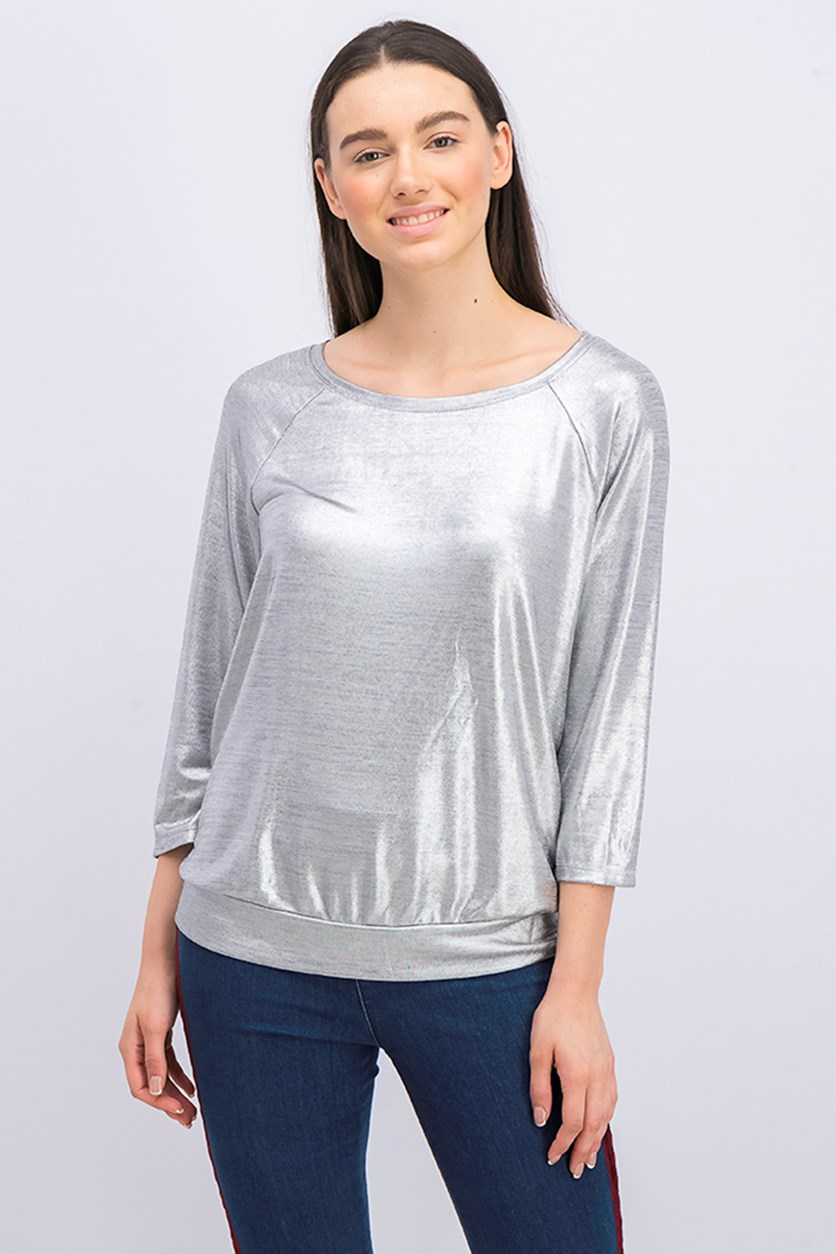 International Concepts Women's 3/4-Sleeve Foil Top, Silver