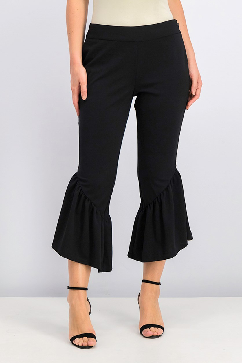 International Concepts Cropped Ruffle-Hem Crepe Pant, Deep Black