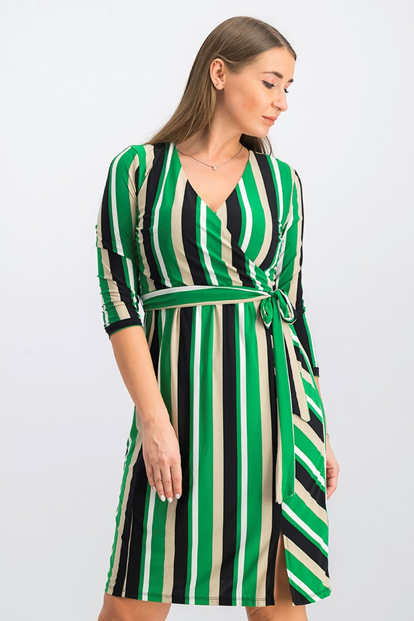 Petite Striped Midi Wrap Dress, Green Combo