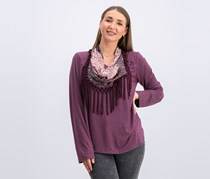Style & Co Womens Scarf Top, Berry Jam