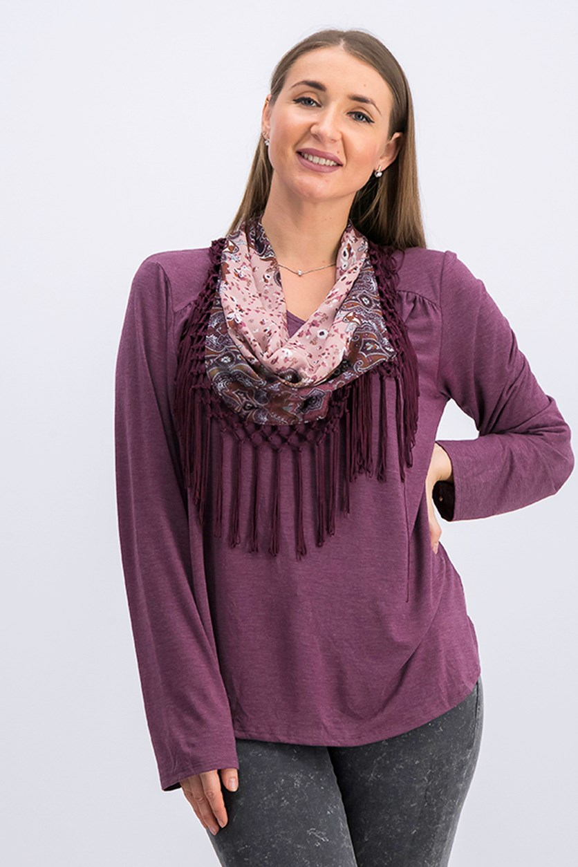 Womens Scarf Top, Berry Jam