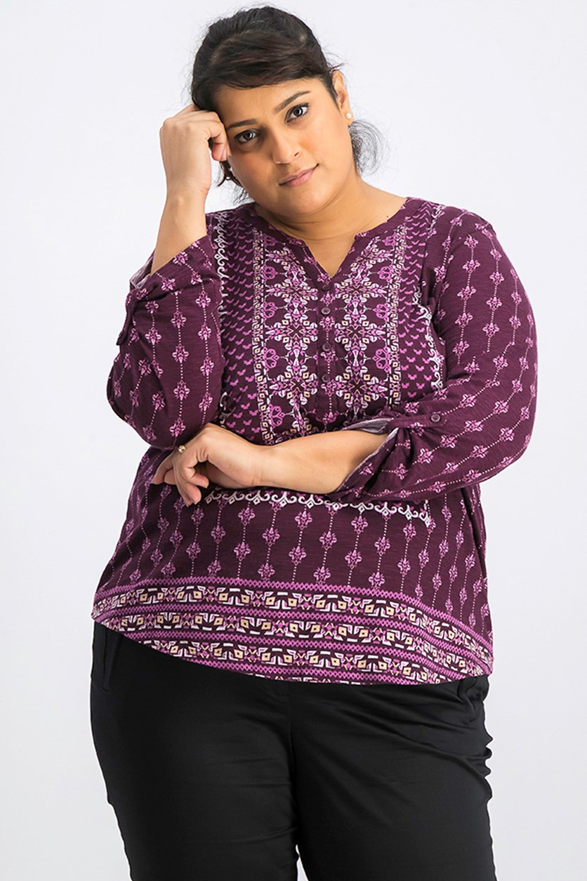 Plus Size Mixed-Print Split-Neckline Top, Berry Jam